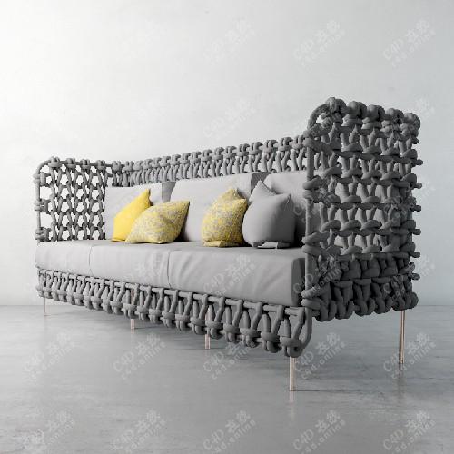 艺术网编织沙发模型