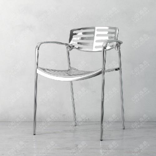 简约金属单人椅子靠背椅模型