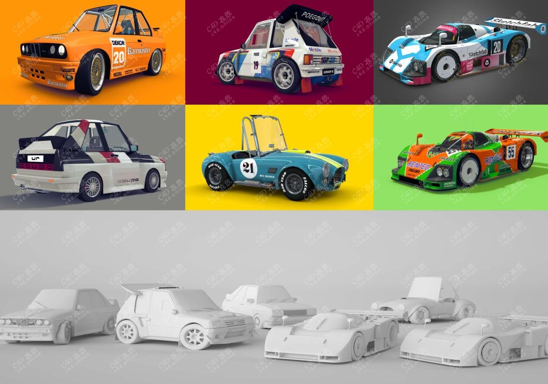 卡通赛车玩具小车模型