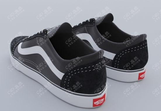 万斯布鞋vans平板鞋模型