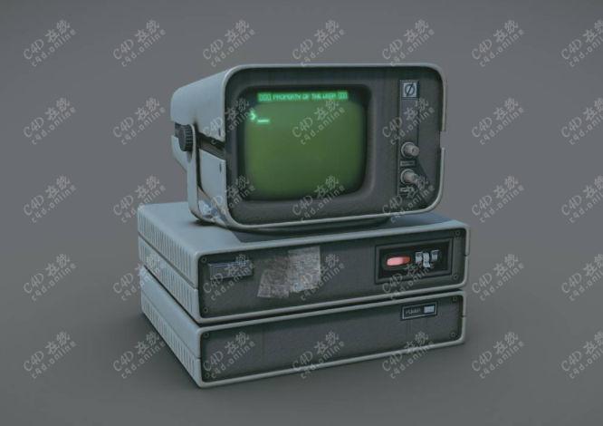 游戏道具电视机复古电脑模型