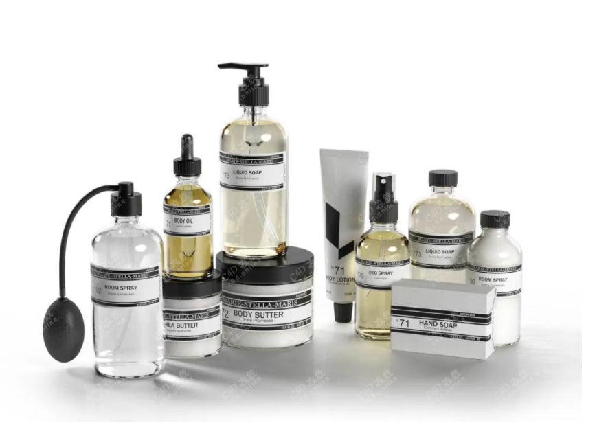 化学药品瓶子玻璃精华模型