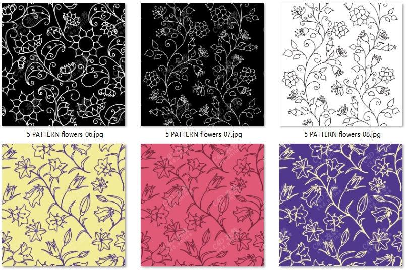 花卉轮廓无缝纹理贴图素材