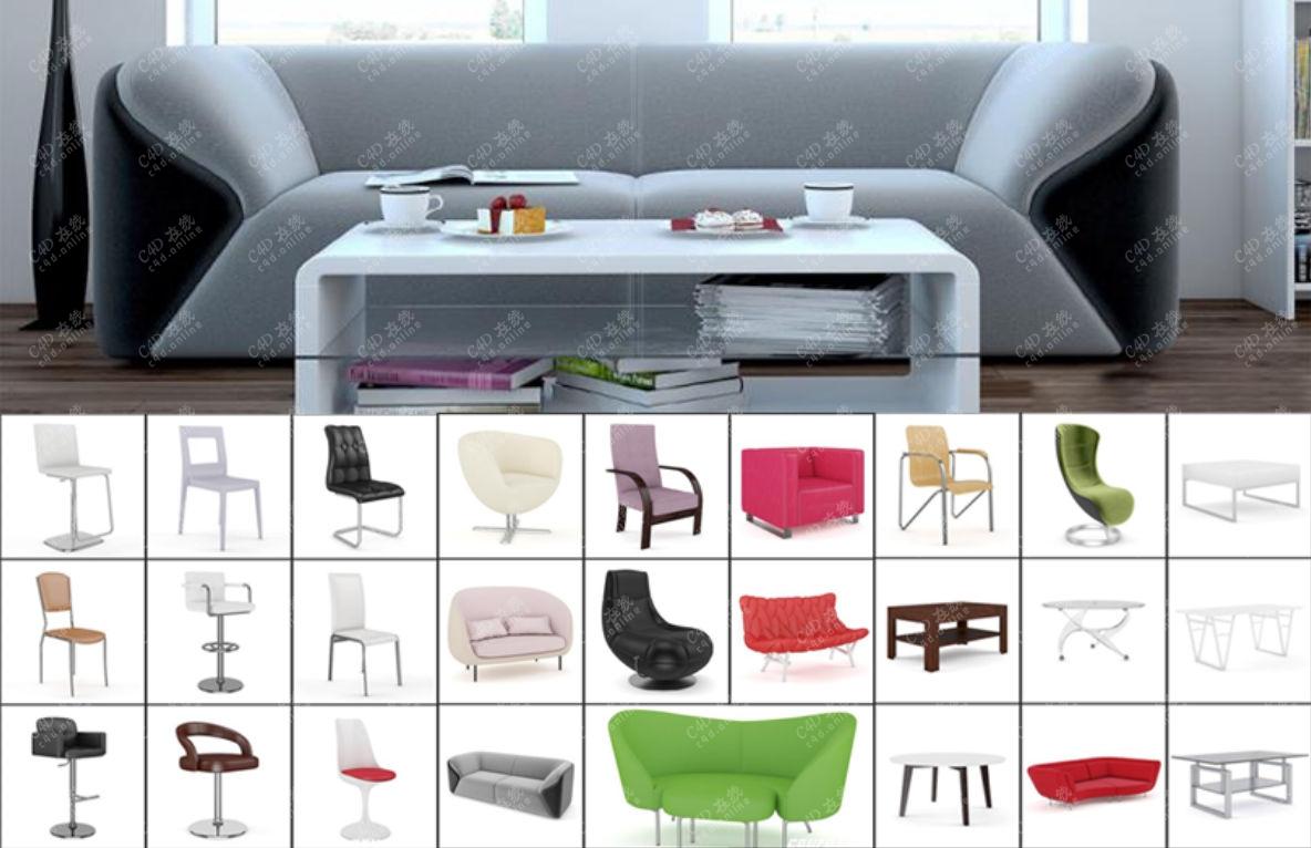 35组桌子椅子沙发家具模型