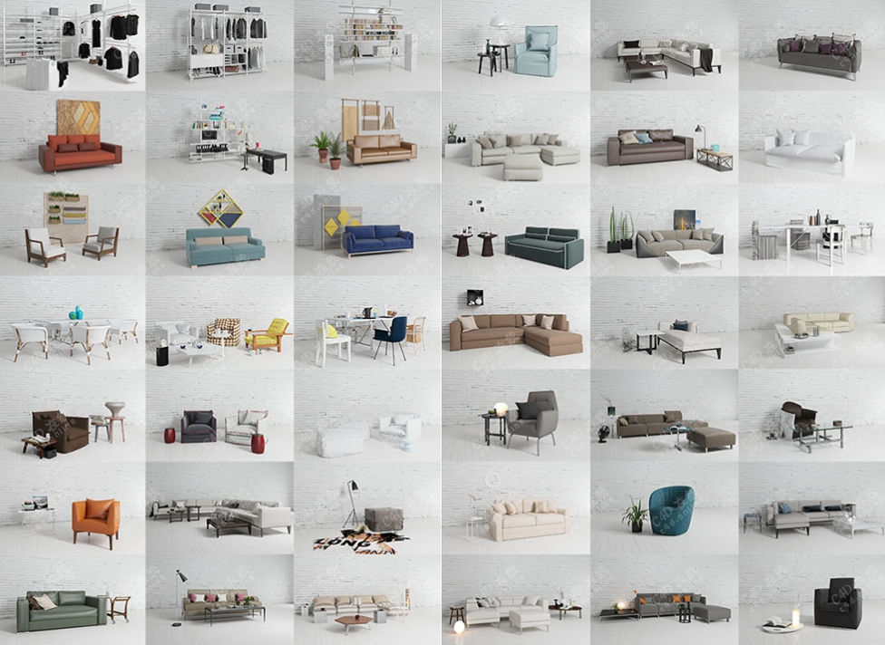 高精度室内沙发桌椅模型合集