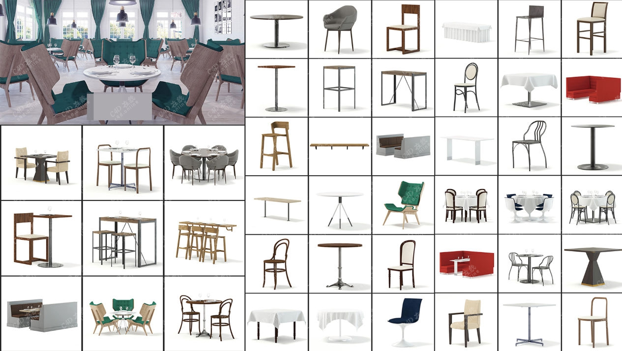 酒店餐厅桌椅模型合集