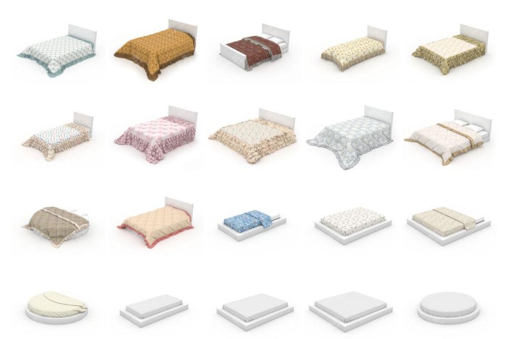 床铺被子枕头模型合集