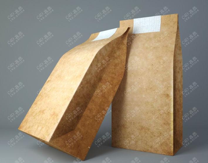 包装袋纸袋外卖袋模型