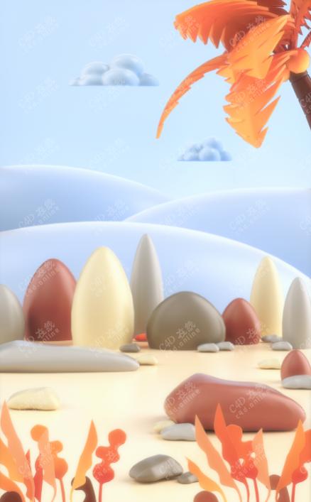 椰树沙滩场景