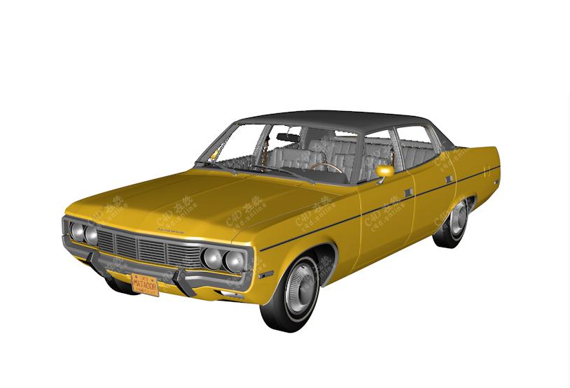黄色老爷车模型